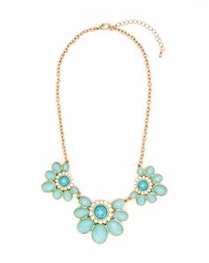Fleur Collar #Necklace- Big bold aqua flowers, made from epoxy stones are a dream addition to any wardrobe. Comes with a matching set of drop earrings!