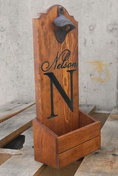 Bottle cap catcher personalized for your man cave.  - Gift for him- Wooden Beer pub sign - Groomsmen wedding Gift