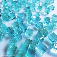 Turquoise blue Japanese wagashi-jello cubes