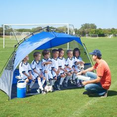 I think the team needs this: Amazon.com: Lightspeed Outdoors Pop Up Sport Shelter Beach Tent, Blue: Sports & Outdoors