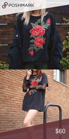 LF Rose Patch T-Shirt XS but oversized fit. Extremely popular! Only worn once LF Tops Tees - Short Sleeve