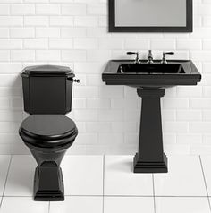 High Resolution Bathroom Images For Best Home Decoration: Modern Black Toilet And Pedestal Sink With Bathroom Mirror Also White Subway Tile Walls For High Resolution Bathroom Images Black Wall Tiles, Black Subway Tiles, Black And White Tiles, Black Walls, Black White, Bathroom Sink Decor, Art Deco Bathroom, Modern Bathroom Design, Bathroom Black