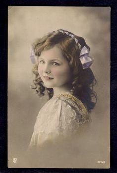 Beautiful Edwardian Girl w Ribbon 1910s Tinted Photo Postcard | - sister