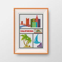 BUY 2, GET 1 FREE! California cross stitch pattern, Instant Download, pdf, Little California, U.S. state, State of California, P185 by NataliNeedlework on Etsy