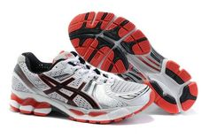 Men Asics GEL KAYANO 17 Shoes White Black Red