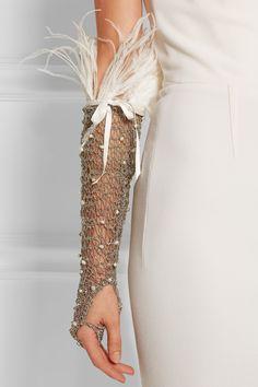 ROSANTICA Giovanna palladium-tone, pearl and feather glove