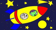 green bunny and kitty in space roket