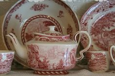 Hello everyone, Just a few more teapots and this time it is my red and white transferware collection. i I kow many of you have seen these be. Vintage Dishes, Vintage China, Vintage Plates, Red And Pink, Red And White, Chocolate Pots, China Patterns, Home Living, China Porcelain