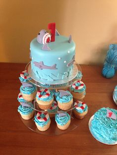 Shark Cake and Cupcakes | Flickr - Photo Sharing!