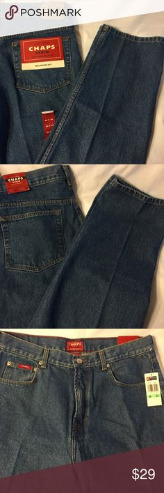 Chaps Ralph Lauren relaxed fit men jeans 34x34 new Chaps Ralph Lauren relaxed fit medium wash jeans in a size 34 x 34.  Measures 34 x 35. Chaps Jeans Relaxed