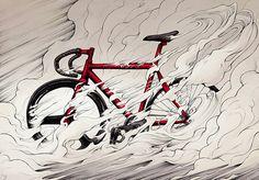 SuperBike Me! by Alex Ferreiro, via Behance Cycling Tattoo, Bicycle Tattoo, Cycling Art, Fixi Bike, Bicycle Art, Road Bike, Graffiti, Bike Illustration, Bike Poster
