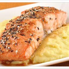 Glazed Sesame Salmon & Wasabi Mashed Potatoes Recipe - ZipList