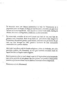 Răspunsul public dat (sub forma unui comunicat) de către Majestatea Sa Regele Mihai I al României la propunerea omului politic liberal Radu Câmpeanu ca Regele să candideze la Președinția României, 1 august 1992.  Pagina 2/2. Mulțumesc d-lui Mihai Anton Angelo Ricci.