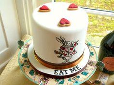 Mad Hatter's Tea Party Baby Shower Cake - stunning hand-drawn White Rabbit image.