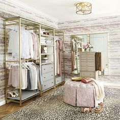 You'll love this Avery Free Standing Closet System Double Hanging Unit! Shop online for Ballard's Avery Free Standing Closet System Double Hanging Unit & renew your interior decorating style. Spare Room Closet, Dressing Room Closet, Wardrobe Room, Dressing Room Design, Closet Bedroom, Glam Closet, Bedroom Decor, Luxury Closet, Dressing Rooms