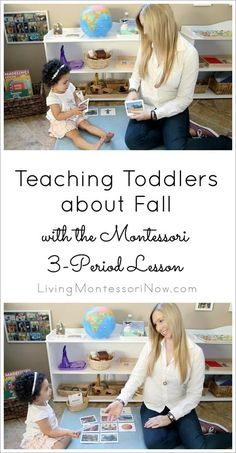 Resources and YouTube video for teaching toddlers about fall using the Montessori 3-period lesson along with a DIY fall book and cards