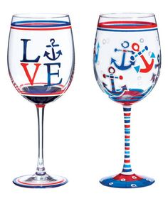 Look at this #zulilyfind! Nautical Hand-Painted Wineglass - Set of Two by Cypress Home #zulilyfinds