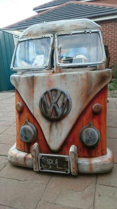 VW Bus Driftwood Storage Bench-Custom