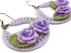 Purple Crochet Hoop Earrings with Purple Roses/ by JagataraArt