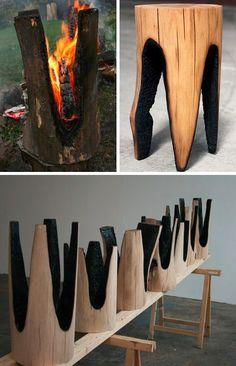 Redefining Rustic Materials: 6 Modern Log Furniture - what a cute idea. Furniture Projects, Wood Projects, Woodworking Projects, Furniture Design, Furniture Makers, Woodworking Guide, Furniture Stores, Furniture Manufacturers, Furniture Websites