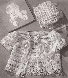 Vintage Crochet Pattern To Make Thread Baby Set Bonnet Sacque Jacket Peekset
