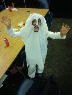 I made this ghost costume for my little man using a white pillow case, and a sharpie. I was lucky enough to find some white pants at the thrift store, and paired it with a long white shirt to complete this look. No one else had the same costume! It really is difficult to find classic costumes like a ghost in the stores. I'm happy with my work!