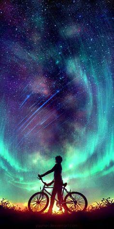 Said the Stars by Wenqing Yan [Yuumei art] Exposure Photography, Art Photography, Night Photography, Landscape Photography, Yuumei Art, Wow Art, Anime Scenery, Galaxy Wallpaper, Wallpaper Backgrounds