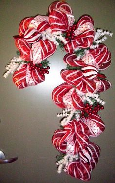 Deco Mesh and ribbon Candy Cane Christmas Wreath.