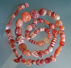 Ancient Etched carnelian beads, From Indus culture. Posted by Kathleen McCabe Elsey