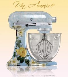 how gorgeous is this custom painted mixer?  It was done by the super talent chic that designed The Pioneer Woman's mixer.  This design costs 600 bux (design only, NOT the mixer itself) so I'll just keep dreaming about it..