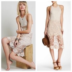 •Free People Cream lace Nora dress• A cotton blend dress with a rib knit tank bodice goes from sporty to sultry with a sheer lace overlay at the leg-baring hemline. A plunging keyhole cutout at the back provides an alluring finish. Crew neck. Racer back with keyhole. Sleevless. Lace skirt. 50% modal 50% cotton. Free People Dresses