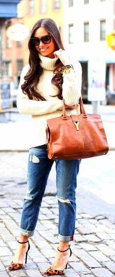 Yves Saint Laurent handbag, denim, turtle neck & ankle strap shoes