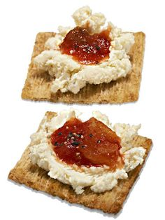 Easy ideas for super-charging your snacks! Mexi-Crackers: spread two wedges of Laughing Cow cheese on eight whole grain crackers and top with salsa.