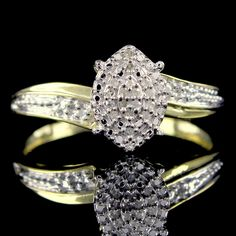 18k Yellow Gold Finish I1-I2 Natural Diamond Cluster Ring + FREE STUD GIFT #Diamantjewels #Cluster #Christmas