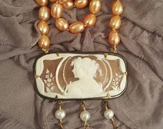 Extasia Museum Style Rectangular Carved Shell Cameo Freshwater Pearl Necklace
