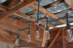 Iron Five Light Unfinished With Red Handled by NorthWestLighting