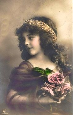 Hand Tinted Sepia - Pretty little Edwardian Girl