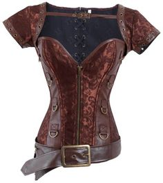Lucea Women's Faux Leather and Brocade Corset