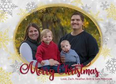 Merry Christmas Silver and Gold Snowflakes Family Christmas Card