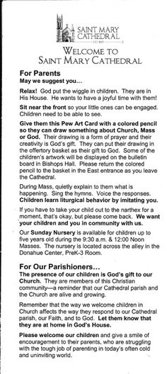 This was in the pew at church, so I stole it and brought it home to show y'all because this is so brilliant.Sorry, Father. I would cry of Joy if this was at my Parish. Catholic Kids, Kids Church, Church Ideas, Roman Catholic, Childrens Prayer, Education English, Pro Life, Lent, Christian Faith