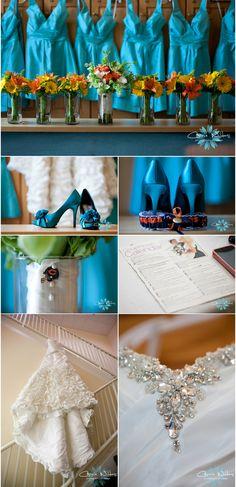 Fun #wedding details! #aqua shoes and dresses!