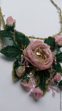 "Buy Necklace ""Flowers"" - pink, necklaces, flower, flower necklaces, beaded jewelry, Necklace"