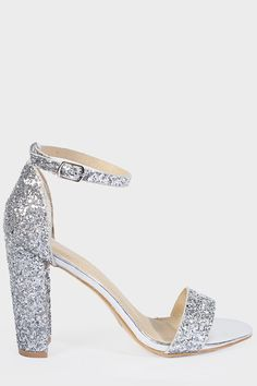 9dd413df3a95 Juno Glitter Back Barely There Block Heels in Silver in 2019 ...