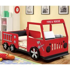 Spark creativity and enthusiasm within your child with this fire truck inspired bed. The metal frame features a life-like finish that will have your child zooming around in their dreams.