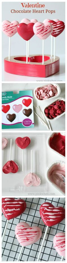 Make these fun Valentine Chocolate Heart Pops for a fun kids Valentine project. www.pinkwhen.com