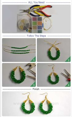DIY green circle pendant with seed beads - - DIY green circle pendant with seed beads DIY Earrings # Beebeecraft DIY grüner Kreis Anhänger mit Rocailles Beaded Earrings Patterns, Bead Patterns, Diy Jewelry Inspiration, Jewelry Ideas, Jewelry Accessories, Bead Jewellery, Jewellery Shops, Jewellery Making, Jewelry Stores