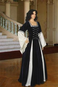 Gothic Style Dress No. 15 Blue, White - 178.00USD - Medieval and Renaissance Clothing, Handmade by Your Dressmaker