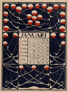 1896 Dutch Nieuwe Kunst (or, Art Nouveau) calendar by Theodoor Willem Nieuwenhuis. January Calendar, Calendar Pages, Art Nouveau, Illustrations, Illustration Art, Kalender Design, Going Dutch, Vintage Calendar, Months In A Year