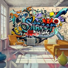 Photo Wallpaper Wall Murals Non Woven Graffiti by GlitterBlast Graffiti Wallpaper Iphone, Graffiti Wall Art, Art Mural, Street Art Graffiti, Wall Murals, Graffiti Quotes, Street Wall Art, Art Quotes, Art Decor