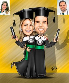 Caricaturas digitais, desenhos animados, ilustração, caricatura realista: Desenho de casal de formandos de Medicina !!